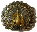 Gold & Silver Plated Peacock Belt Buckle with display stand. Code TB4